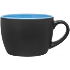 Sky Blue Bolzano Ceramic Mugs - Matte Black | 18 oz
