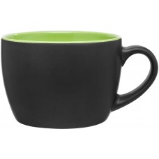 Lime Green Bolzano Ceramic Mugs - Matte Black | 18 oz -