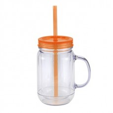 Orange Mason Master | 20 oz - Clear with Orange Lid