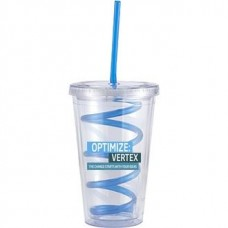 Clear with Blue Crazy Straw Slurpy With Crazy Straw | 16 oz