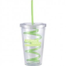 Green Slurpy With Crazy Straw | 16 oz - Clear with Green Crazy Straw