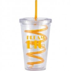 Orange Slurpy With Crazy Straw | 16 oz - Clear with Orange Crazy Straw