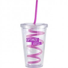 Pink Slurpy With Crazy Straw | 16 oz - Clear with Pink Crazy Straw