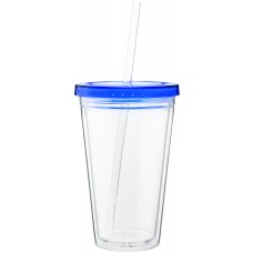 Blue 16 oz spirit tumbler with color lid