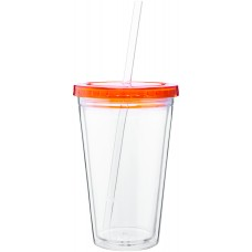 Orange 16 oz spirit tumbler with color lid-tangerine