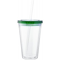 Green 16 oz spirit tumbler with color lid