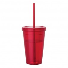 Red Tumblers & Straw | 16 oz