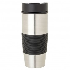 Black Steel & PP Tumblers | 16 oz - Stainless Steel with Black Rubber Grip