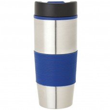 Stainless Steel with Blue Rubber Grip Steel & PP Tumblers | 16 oz
