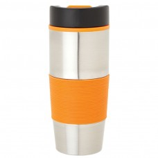 Orange Steel & PP Tumblers | 16 oz - Stainless Steel with Orange Rubber Grip