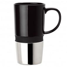 Black Ceramic Mugs | 16 oz - Ceramic Body with Black Silicone Band
