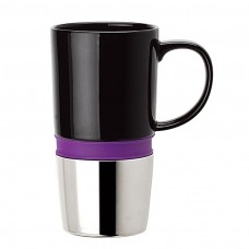 Purple Ceramic Mugs | 16 oz - Ceramic Body with Purple Silicone Band