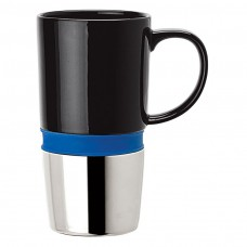 Blue Ceramic Mugs | 16 oz - Ceramic Body with Blue Silicone Band