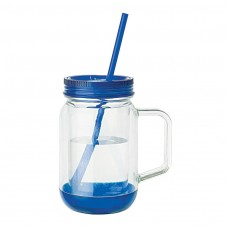 Clear Jar with Blue Lid Handled Mason Jar Mugs | 17 oz