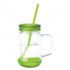 Green Handled Mason Jar Mugs | 17 oz - Clear Jar with Lime Green Lid