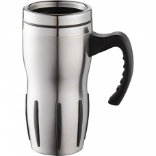 Stainless Tech Travel Mugs | 14 oz - Stainless Steel with Black Grip
