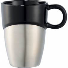 Black Double Dipper Ceramic Mugs with Stainless Base | 11 oz