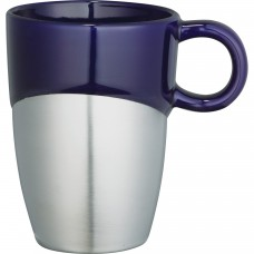 Blue Double Dipper Ceramic Mugs with Stainless Base | 11 oz