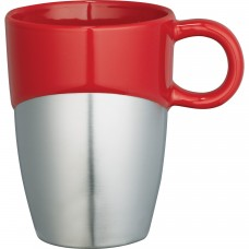 Red Double Dipper Ceramic Mugs with Stainless Base | 11 oz