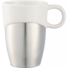 White Double Dipper Ceramic Mugs with Stainless Base | 11 oz