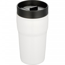 White Double-Wall Ceramic Tumblers With Hard Lid | 10 oz