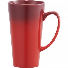 Red Cafe Tall Latte Ceramic Mugs | 14 oz