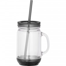 Black Game Day Double-Wall Mason Jar | 20 oz - Clear with Black Lid