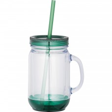 Game Day Double-Wall Mason Jar | 20 oz - Clear with Green Lid