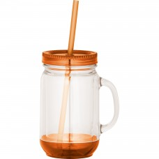 Orange Game Day Double-Wall Mason Jar | 20 oz - Clear with Orange Lid