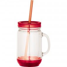 Red Game Day Double-Wall Mason Jar | 20 oz - Clear with Red Lid