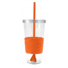Orange Revolution Tumblers | 24 oz - Clear with Orange Rubber Grip