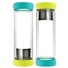 Green Double Wall Glass Tea Bottles Teal-Lime