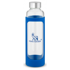 Blue 20 oz Tioga Glass Water Bottles