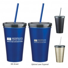 Stainless Steel Double Wall Tumbler With Straw | 16 oz