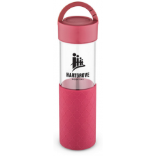 Red 24 oz Mia Serenity Glass Water Bottles
