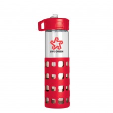 Red Sip-N-Go Glass Water Bottles | 20 oz